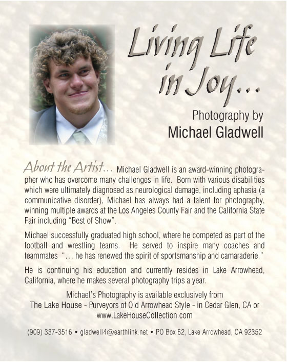 Michael Gladwell, Photographer, Lake Arrowhead, California